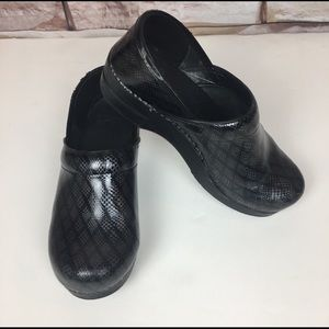Dansko Black Checkered Clogs- Size 8 1/2